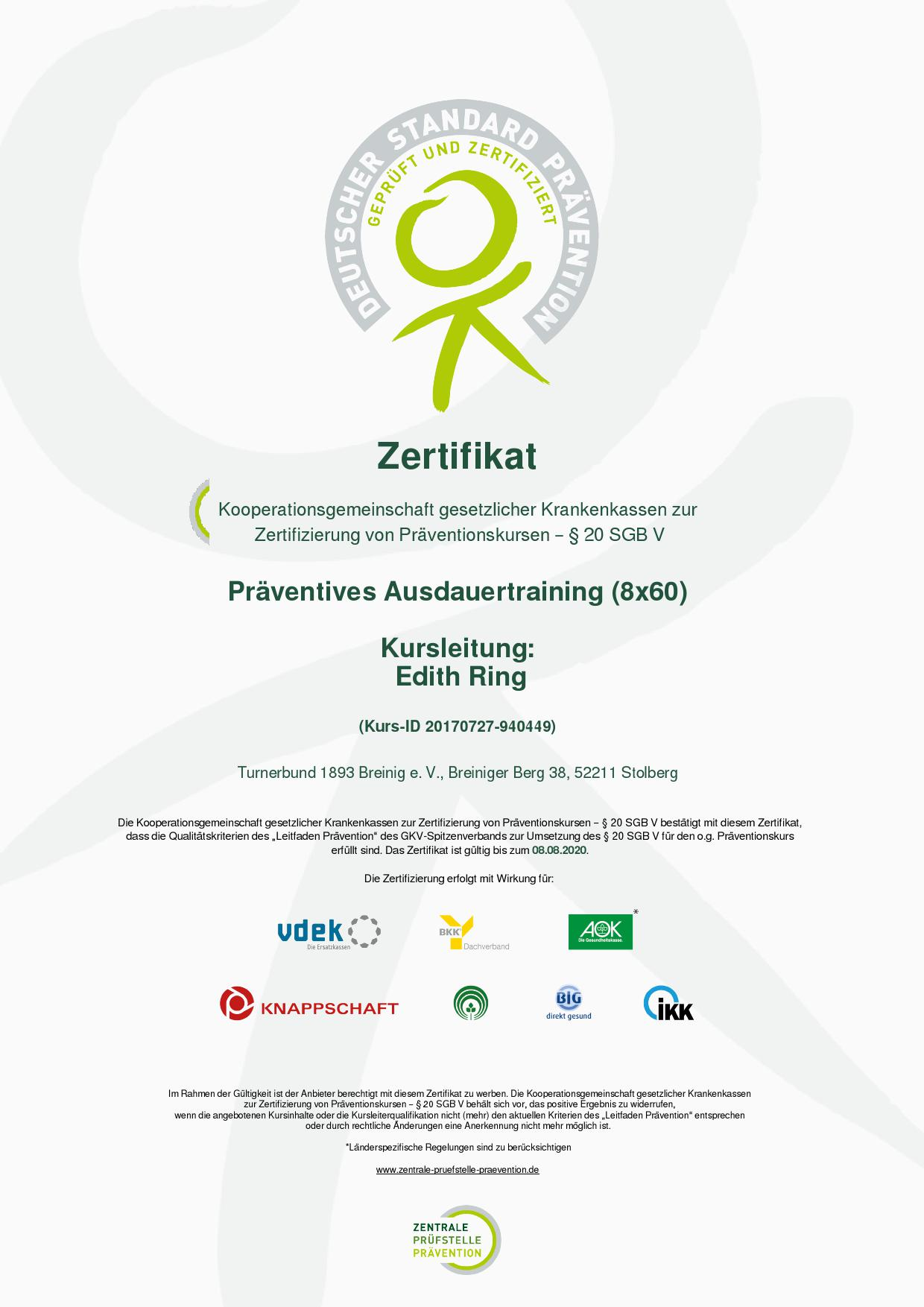 Zertifikat Edith Ring